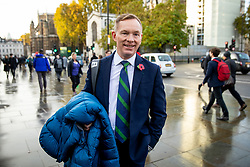 © Licensed to London News Pictures. 04/11/2019. London, UK. Labour MP Chris Bryant arrives at the Houses of Parliament. Bryant is standing as a candidate for new Speaker of the House of Commons, which will be decided by a vote starting later this afternoon. Photo credit : Tom Nicholson/LNP
