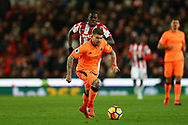 Alberto Moreno of Liverpool in action. Premier league match, Stoke City v Liverpool at the Bet365 Stadium in Stoke on Trent, Staffs on Wednesday 29th November 2017.<br /> pic by Chris Stading, Andrew Orchard sports photography.