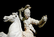 Roman marble sculpture of a warrior on horseback, a 2nd century AD copy from an original 2nd century BC Hellanistic Greek original, inv 6405, Museum of Archaeology, Italy ..<br /> <br /> If you prefer to buy from our ALAMY STOCK LIBRARY page at https://www.alamy.com/portfolio/paul-williams-funkystock/greco-roman-sculptures.html . Type -    Naples    - into LOWER SEARCH WITHIN GALLERY box - Refine search by adding a subject, place, background colour, etc.<br /> <br /> Visit our ROMAN WORLD PHOTO COLLECTIONS for more photos to download or buy as wall art prints https://funkystock.photoshelter.com/gallery-collection/The-Romans-Art-Artefacts-Antiquities-Historic-Sites-Pictures-Images/C0000r2uLJJo9_s0