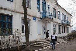 The Zorinsk polyclinic health centre where MSF holds a mobile clinic. The health centre and parts of the town were damaged by shelling during the recent conflict. Medicines are unavaiilable and many of the local medical staff have fled.