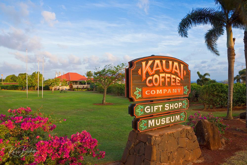 Sign and visitor center at the Kauai Coffee Company plantation (largest in Hawaii), Island of Kauai, Hawaii