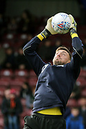 Scunthorpe United goalkeeper Jon Flatt (27) warms up  during the EFL Sky Bet League 1 match between Scunthorpe United and Plymouth Argyle at Glanford Park, Scunthorpe, England on 27 October 2018. Pic Mick Atkins