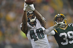 Raheem Mostert #48 of the Philadelphia Eagles against the Green Bay Packers at Lambeau Field on August 29, 2015 in Green Bay, Pennsylvania. The Eagles won 39-26. (Photo by Drew Hallowell/Philadelphia Eagles)