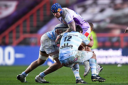 Jack Nowell of Exeter Chiefs is challenged by Henry Chavancy of Racing 92 - Mandatory by-line: Ryan Hiscott/JMP - 17/10/2020 - RUGBY - Ashton Gate Stadium - Bristol, England - Exeter Chiefs v Racing 92 - Heineken Champions Cup Final