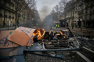 A barricade near the Champs Elysees. More than 125000 gathered in Paris for the Gilets Jaune (Yellow vest) protest. Soon the protest turned violent an protesters clashed with the police, tear gas and flash bombs were fired, many injured and arrested by the police. Paris December 6th 2018. Federico Scoppa