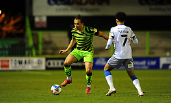 Kane Wilson of Forest Green Rovers tries to get past Courtney Senior of Colchester United- Mandatory by-line: Nizaam Jones/JMP - 27/02/2021 - FOOTBALL - The innocent New Lawn Stadium - Nailsworth, England - Forest Green Rovers v Colchester United - Sky Bet League Two