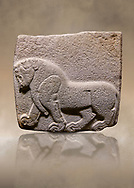 Aslantepe Hittite relief sculpted orthostat stone panel. Limestone, Aslantepe, Malatya, 1200-700 B.C. . Anatolian Civilisations Museum, Ankara, Turkey<br /> Depiction of a horse walking <br /> <br /> If you prefer to buy from our ALAMY STOCK LIBRARY page at https://www.alamy.com/portfolio/paul-williams-funkystock/hittite-art-antiquities.html . Type - Aslantepe - in LOWER SEARCH WITHIN GALLERY box. Refine search by adding background colour, place, museum etc.<br /> <br /> Visit our HITTITE PHOTO COLLECTIONS for more photos to download or buy as wall art prints https://funkystock.photoshelter.com/gallery-collection/The-Hittites-Art-Artefacts-Antiquities-Historic-Sites-Pictures-Images-of/C0000NUBSMhSc3Oo