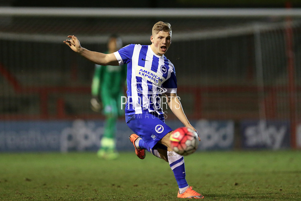 U21 Brighton and Hove Albion's Will Collar during the Barclays U21 Premier League match between U21 Brighton and Hove Albion and U21 Newcastle United at the Checkatrade.com Stadium, Crawley, England on 23 March 2016.