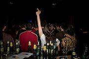 Fans of Kultur Shock at the bar in Gun Club in Belgrade, Serbia...