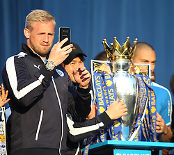 Kasper Schmeichel of Leicester City (L) with the trophy at Victoria park during the victory celebrations  - Mandatory by-line: Jack Phillips/JMP - 16/05/2016 - FOOTBALL - Leicester City FC, Sky Bet Premier League Winners 2016 - Leicester City Victory Parade