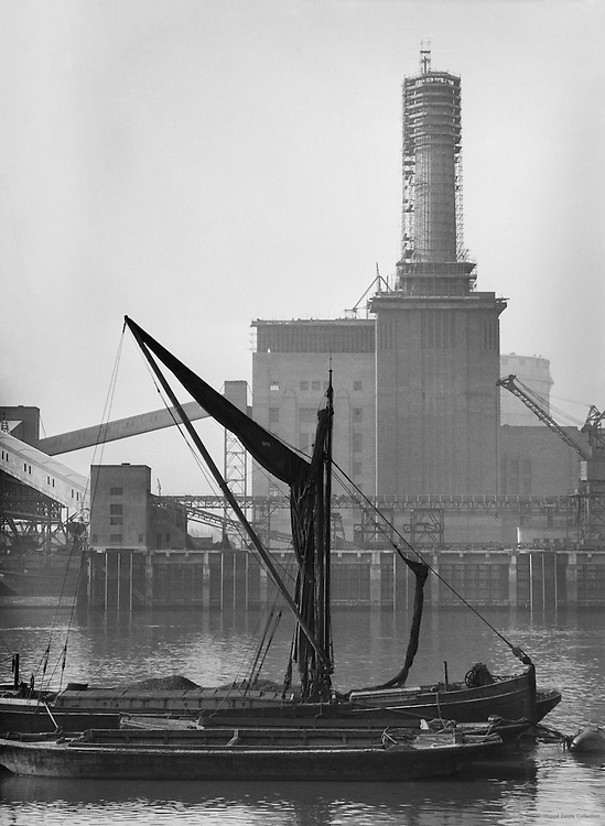 Battersea Power Station under Construction from Thames, London, 1934