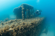 The wreck of the British destroyer HMS Maori, which lies at 10-15 metres depth in Valletta harbour. Maori was sunk by a bomb in World War 2 and is famous for helping pick up survivors from the sinking of the German battleship Bismarck