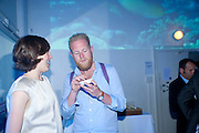 CORINNA GARDNER; CHARLIE, The Surreal House Barbican art gallery afterwards SURREAL DINNER at Hoxton hall. London. 9 June 2010. -DO NOT ARCHIVE-© Copyright Photograph by Dafydd Jones. 248 Clapham Rd. London SW9 0PZ. Tel 0207 820 0771. www.dafjones.com.