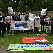 """James Wild, Jerome Mayhew, Duncan Baker and John Hayes come and show support to the Norfolk community protest to """"Save the Queen Elizabeth hospital"""" at Old Palace Yard, London, UK on 2021-09-15"""
