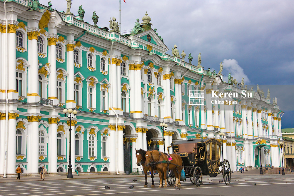 Horse carriage passing by Winter Palace, St Petersburg, Russia