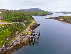 Aerial view from drone of old abandoned ferry dock at Loch Skipport ( Loch Sgioprt) on South Uist, Outer Hebrides, Scotland, UK