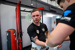 © London News Pictures. 29/12/2016. Two-weight world boxing champion, Carl Frampton (centre), nickname The Jackal, sparring at his gym in south London with trainer Shane McGuigan (right), the son of Barry McGuigan. Frampton has been named ESPN's fighter of the year. Photo credit: Ben Cawthra/LNP