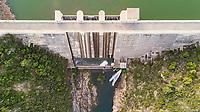 Aerial view of Boadella i les Escaules water dam, Spain.