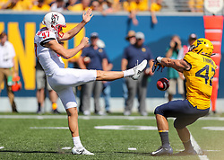 Sep 14, 2019; Morgantown, WV, USA; West Virginia Mountaineers tight end Logan Thimons (42) blocks a punt from North Carolina State Wolfpack punter Trenton Gill (97) during the third quarter at Mountaineer Field at Milan Puskar Stadium. Mandatory Credit: Ben Queen-USA TODAY Sports
