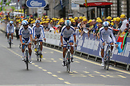 Team Novo Nordisk before the London Stage of the Aviva Tour of Britain, Regent Street, London, United Kingdom on 13 September 2015. Photo by Ellie Hoad.
