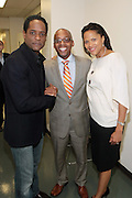 May 7, 2012- New York, NY United States: - (L-R) Actor Blair Underwood, Dr. Khalil Gibran Muhammad, Director, The Schomburg Center and Stephane Lawson-Muhammad and attend the post reception of Theater Talks at the Schomburg: A Streetcar Named Desire held at the Schomburg Center for Research in Black Culture, part of the New York Public Library on May 7, 2012 in Harlem Village, New York City. The Schomburg Center for Research in Black Culture, a research unit of The New York Public Library, is generally recognized as one of the leading institutions of its kind in the world. For over 80 years the Center has collected, preserved, and provided access to materials documenting black life, and promoted the study and interpretation of the history and culture of peoples of African descent.  (Photo by Terrence Jennings) .