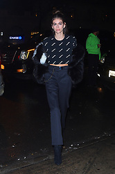 """Kaia Gerber shows off her toned abs as she attends """"Jimmy Choo x Off-White"""" presentation. 11 Feb 2018 Pictured: Kaia Gerber. Photo credit: STB / MEGA TheMegaAgency.com +1 888 505 6342"""