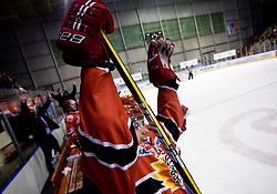 Marjan Manfreda celebrates at 14th Round of EBEL league  ice hockey match between HK Acroni Jesenice and HDD Tilia Olimpija Ljubljana, on October 16, 2009, in Arena Podmezakla, Jesenice. Acroni Jesenice won 7:5. (Photo by Vid Ponikvar / Sportida)