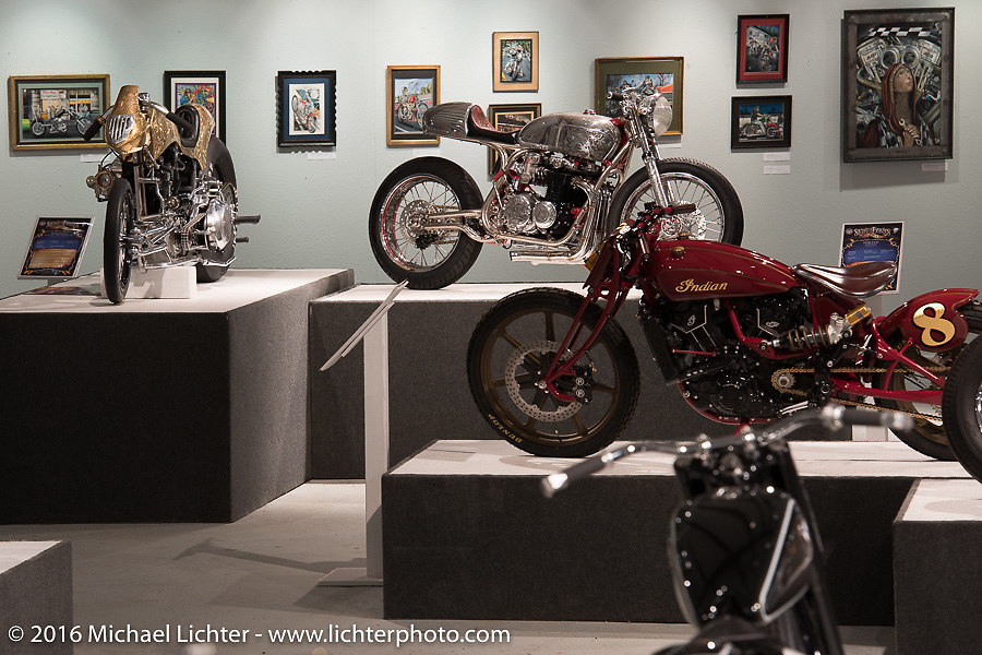 Bryan Fuller's custom 1977 CB550 in Michael Lichter's Skin & Bones tattoo inspired Motorcycles as Art show at the Buffalo Chip Gallery during the annual Sturgis Black Hills Motorcycle Rally.  SD, USA.  August 10, 2016.  Photography ©2016 Michael Lichter.