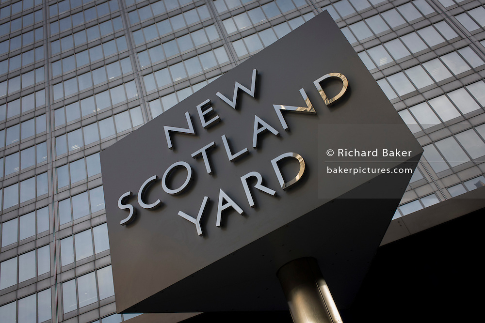 The Metropolitan Police's revolving sign their headquarters at New Scotland Yard in Westminster, London.