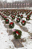Goshen, New York - Orange County's Veterans Memorial Cemetery hosted a Wreaths Across America ceremony on Dec. 16, 2017. About 3,000 wreaths were placed at graves, and small American flags were added to the wreaths at veterans' graves.