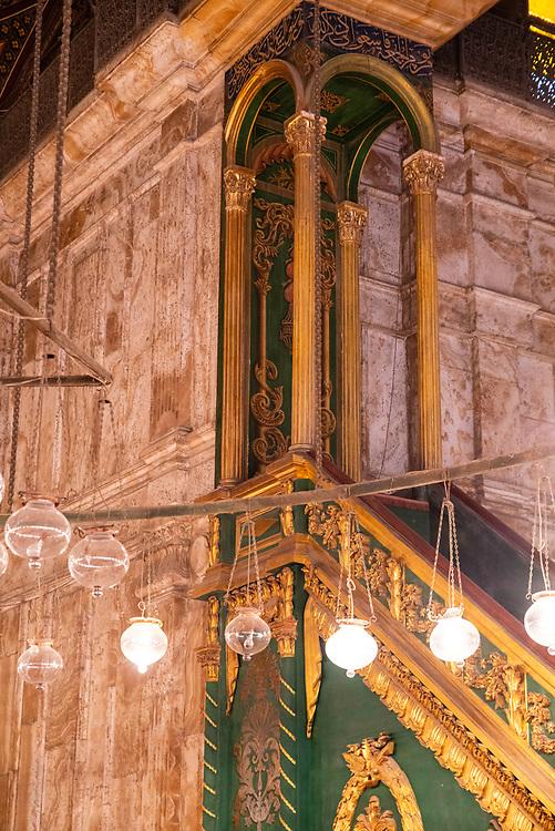 Interior view of the Mosque of Muhammad Ali, Al Abageyah, El-Khalifa, Cairo Governate, Egypt.