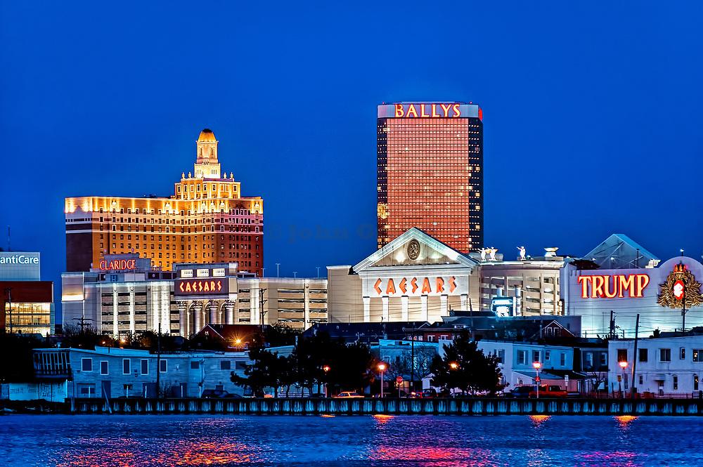 Atlantic City casino skyline at night, New Jersey, USA
