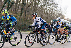 The peloton is starting to break up as the race enters it's second phase - 2016 Omloop van het Hageland - Tielt-Winge, a 129km road race starting and finishing in Tielt-Winge, on February 28, 2016 in Vlaams-Brabant, Belgium.