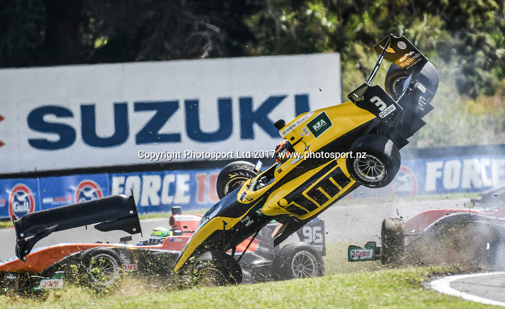 Brendon Leitch gets airborne after colliding with the back of another car in race 1 of the Castrol Toyota Racing Series, Manfeild, New Zealand. Saturday, 11 Fedurary, 2017. Copyright photo: Bruce Jenkins / www.photosport.nz