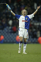 Photo: Aidan Ellis.<br /> Blackburn Rovers v Arsenal. The Barclays Premiership. 25/02/2006.<br /> Blackburn's Robbie Savage enjoys victory at the end