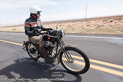 Dean Bordigioni of California riding his Class-1 single-cylinder single-speed 1914 Harley-Davidson during the Motorcycle Cannonball Race of the Century. Stage-11 ride from Durango, CO to Page, AZ. USA. Wednesday September 21, 2016. Photography ©2016 Michael Lichter.