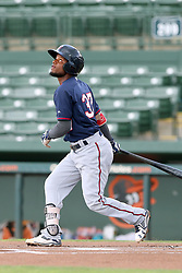 July 17, 2018 - Sarasota, FL, U.S. - Sarasota, FL - JUL 17: Samuel Vasquez (37) of the Twins at bat during the Gulf Coast League (GCL) game between the GCL Twins and the GCL Orioles on July 17, 2018, at Ed Smith Stadium in Sarasota, FL. (Photo by Cliff Welch/Icon Sportswire) (Credit Image: © Cliff Welch/Icon SMI via ZUMA Press)