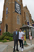 6/24/21  James Meredith poses with Ty Taylor a local high school student, outside Calvary Lutheran Church in Minneapolis, just 3 blocks from where George Floyd was brutally murdered. George Floyd Memorial Square.  Civil Rights maverick, and Mississippi's Native son, James Meredith visits George Floyd Memorial Square the day before ex police officer Eric Chauvin is sentenced for the murder of George Floyd.  Meredith is in Minnesota for More Than A Moment, a series of roundtable discussions with students, educators, lawyers, and community leaders and faith leaders to discuss ways to end racism and how to build strong community leaders. Meredith emphasized the importance of speaking the truth and working together to make change for the better in our communities. Photo © Suzi Altman 6/24/21 James Meredith poses outside Cup Foods in front of the George Floyd memorial mural, Meredith says he was the George Floyd of his time. The site where Floyd was brutally killed by ex police officer Eric Chauvin who will be sentenced for the murder Friday June 25th. Civil rights icon James Meredith visits George Floyd Memorial Square the day before ex police officer Derek Chauvin is sentenced for the murder of George Floyd. Meredith is in Minnesota for More Than A Moment, a series of roundtable discussions with students, educators, lawyers, and community leaders and faith leaders to discuss ways to end racism and how to build strong community leaders. Meredith emphasized the importance of speaking the truth and working together to make change for the better in our communities. Photo © Suzi Altman #jamesmeredith #georgefloyd #minneapolis #minnesota #justice #peace #mural #memorial #education #suzialtman #shotoniphone #derekchauvin #murder #blacklivesmatter photo copyright © @suzialtman  #derekchauvin