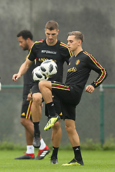 September 5, 2018 - Tubize, BELGIUM - Belgium's Thomas Meunier and Belgium's Leandro Trossard pictured during a training session of Belgian national soccer team the Red Devils in Tubize, Wednesday 05 September 2018. The team is preparing for a friendly match against Scotland on 07 September and the UEFA Nations League match against Iceland on 11 September. BELGA PHOTO BRUNO FAHY (Credit Image: © Bruno Fahy/Belga via ZUMA Press)