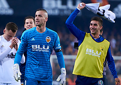 March 1, 2019 - Valencia, U.S. - VALENCIA, SPAIN - FEBRUARY 28: Jaume Domenech and Ferran Torres of Valencia CF celebrate the pass to the final with their fans during the Copa del Rey match between Valencia CF and Real Betis Balompie at Mestalla stadium on February 28, 2019 in Valencia, Spain. (Photo by Carlos Sanchez Martinez/Icon Sportswire) (Credit Image: © Carlos Sanchez Martinez/Icon SMI via ZUMA Press)