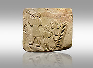 Landscape picture of Alaca Hoyuk Sphinx Gate Hittite monumental relief sculpted orthostat stone panel. Andesite, Alaca, Corum, 1399 - 1301 B.C. Jugglers and acrobats.  Anatolian Civilizations Museum, Ankara, Turkey<br /> <br /> The juggler facing towards left, with long hair and a short dress, swallows a dagger; the smaller acrobats behind go up the stairs without holding on. All the figures have horned headdresses and earrings with a huge ring on their ears. It is thought that the acrobats are of different nationality, which is the reason why they are depicted smaller. <br /> <br /> Against a brown gray background. .<br />  <br /> If you prefer to buy from our ALAMY STOCK LIBRARY page at https://www.alamy.com/portfolio/paul-williams-funkystock/hittite-art-antiquities.html . Type - Aalca Hoyuk - in LOWER SEARCH WITHIN GALLERY box. Refine search by adding background colour, place, museum etc.<br /> <br /> Visit our HITTITE PHOTO COLLECTIONS for more photos to download or buy as wall art prints https://funkystock.photoshelter.com/gallery-collection/The-Hittites-Art-Artefacts-Antiquities-Historic-Sites-Pictures-Images-of/C0000NUBSMhSc3Oo