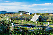 Little hut in the Norstead Viking Village and Port of Trade reconstruction of a Viking Age settlement, Newfoundland, Canada