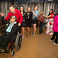 Pastor Nathan Lynch leads a conga line as the night winds down at the Night to Shine prom Friday, Feb. 7 at the New Life Christian Assembly in Pinedale. In its second year the prom hosted 75 guests and 44 volunteers.