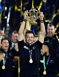 Richie McCaw of New Zealand lifts the Webb Ellis Cup in celebration as New Zealand are crowned World Champions - Mandatory byline: Patrick Khachfe/JMP - 07966 386802 - 31/10/2015 - RUGBY UNION - Twickenham Stadium - London, England - New Zealand v Australia - Rugby World Cup 2015 Final.