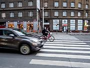 "Street crossing at ""Ohrada"" in Prague, Žižkov."