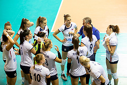 Players of Slovenia during volleyball match between National teams of Slovenia and Belgium in 4th Qualification Round of 2019 CEV Volleyball Women's European Championship, on August 25, 2018 in Sports hall Tabor, Maribor, Slovenia. Photo by Urban Urbanc / Sportida