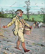 Farmer sowing seed broadcast. Horses in right backgro Colour-printed wood engraving.