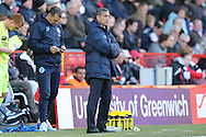 Chris Hughton, Brighton & Hove Albion manager looks on from the touchline. Skybet football league championship match, Charlton Athletic v Brighton & Hove Albion at The Valley  in London on Saturday 23rd April 2016.<br /> pic by John Patrick Fletcher, Andrew Orchard sports photography.