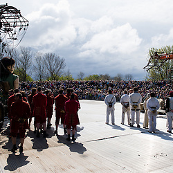 LIVERPOOL, UK, 20th April, 2012. The Sea Odyssey. Huge crowds gather to greet the little girl giant and her dog.