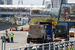 London, UK. 5 September, 2019. Military vehicles arrive at ExcelLondon for DSEI, the world's largest arms fair.